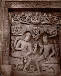 Sculpture panel on the east face of the Dashavatara Temple, Deogarh: Penance of the sages, Nara and Narayana seated beneath a tree
